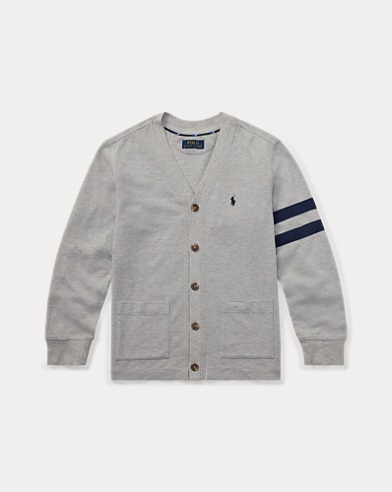 Cotton Mesh Letterman Cardigan