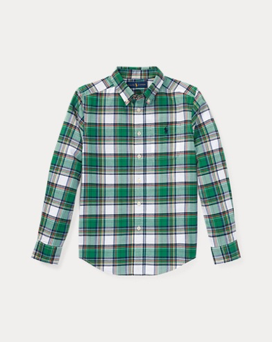 Plaid Cotton Twill Sport Shirt