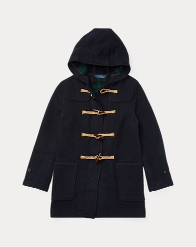 Wool-Blend Hooded Toggle Coat