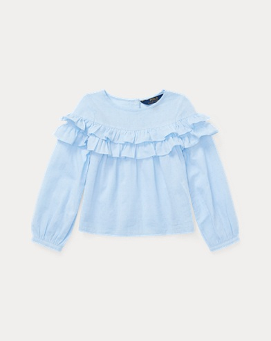 Ruffled Cotton Dobby Top
