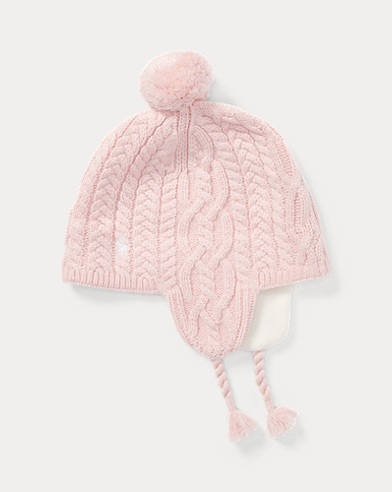 Bonnet à rabats en tricot d'Aran