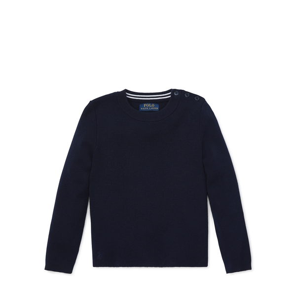 Ralph Lauren Contrast-Peplum Wool Sweater Hunter Navy 3T