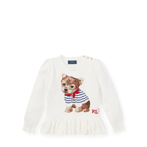 Ralph Lauren Intarsia-Knit Peplum Sweater Trophy Cream 3T