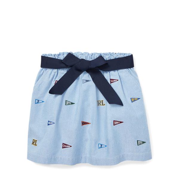 Ralph Lauren Embroidered Cotton Skirt Bsr Blue 6X