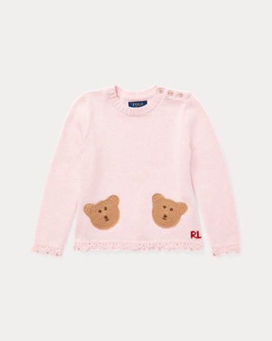 Bear Scalloped Cotton Sweater