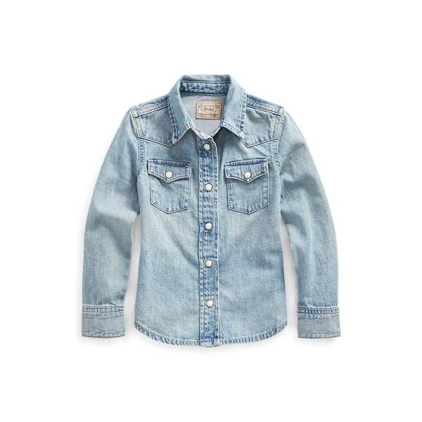 폴로 랄프로렌 여아용 셔츠 Polo Ralph Lauren Cotton Denim Western Shirt,Blue