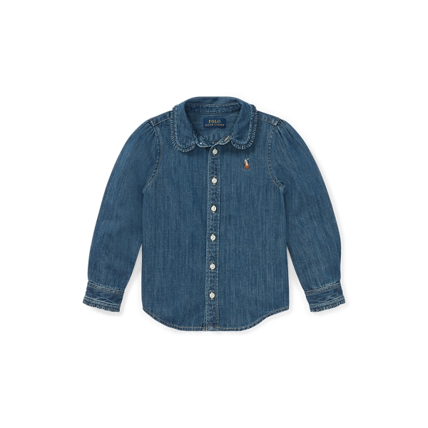 폴로 랄프로렌 여아용 셔츠 Polo Ralph Lauren Cotton Denim Shirt,Indigo