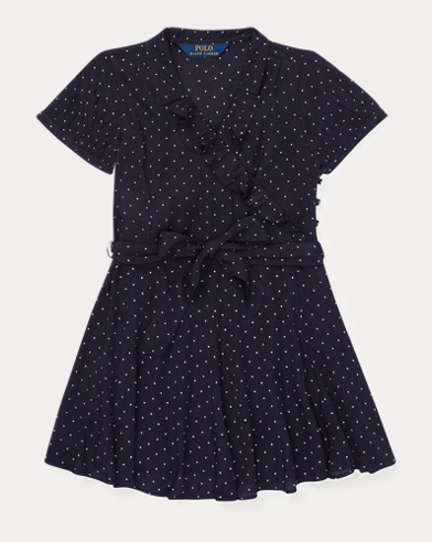 Polka-Dot Ruffled Crepe Dress