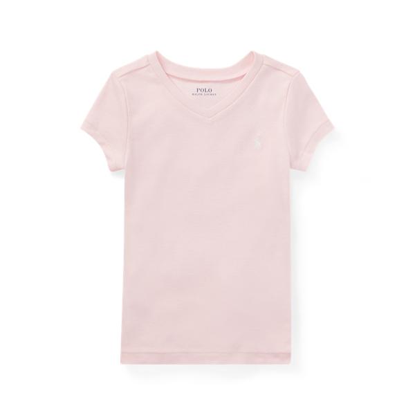 폴로 랄프로렌 여아용 티셔츠 Polo Ralph Lauren Jersey V-Neck T-Shirt,Hint Of Pink