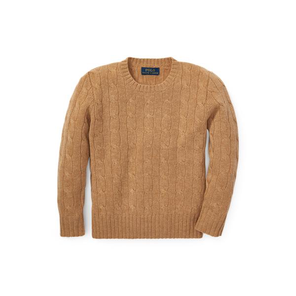 폴로 랄프로렌 Polo Ralph Lauren Cable Knit Cashmere Sweater,Camel Melange