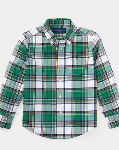 Plaid Cotton Twill Sport Shirt