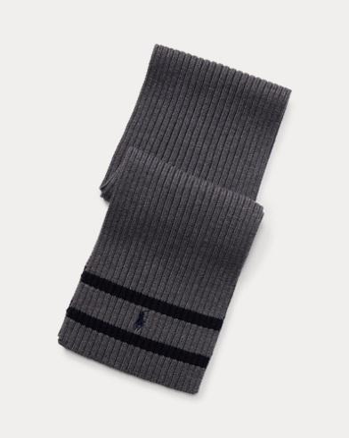 Écharpe côtelée en laine mérinos
