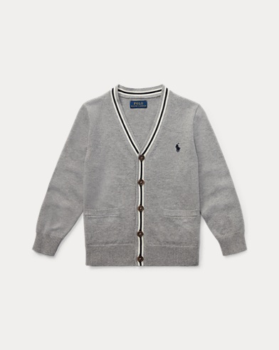 Stripe-Trim Cotton Cardigan
