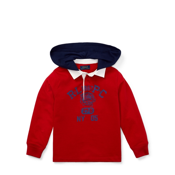 Ralph Lauren Cotton Jersey Hooded Rugby Faded Red 2T