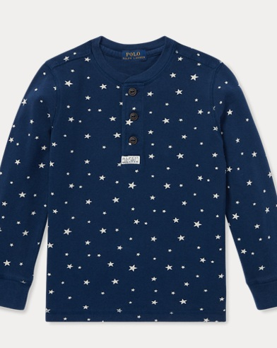 Star-Print Cotton Mesh Henley