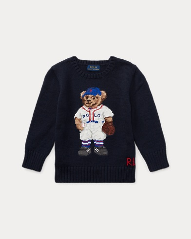 Baseball Bear Cotton Sweater