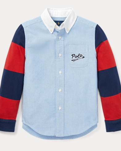 Jersey-Sleeve Oxford Shirt