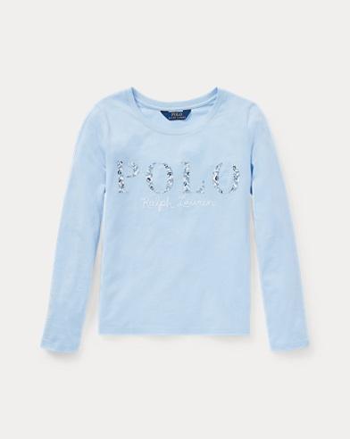 Maglietta Polo in jersey a fiori