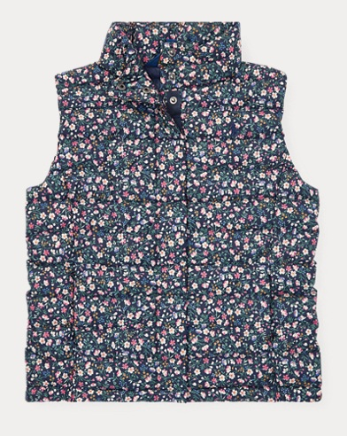 Floral Quilted Down Vest