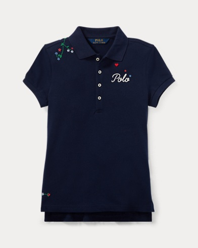 Polo in piqué stretch ricamata