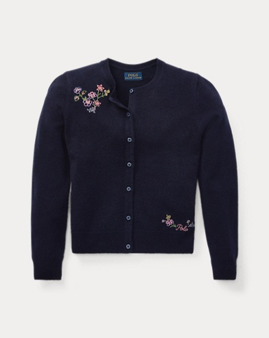 Floral-Embroidered Cardigan