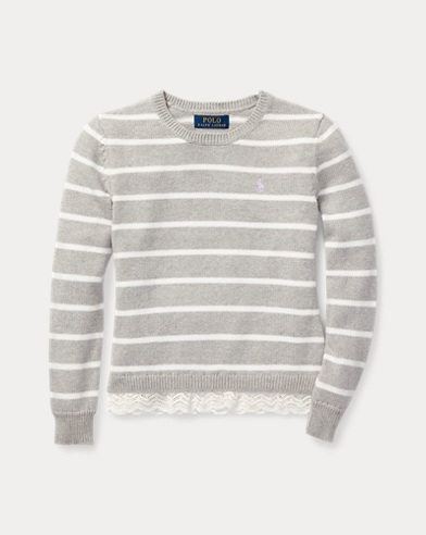 Lace-Trim Striped Sweater