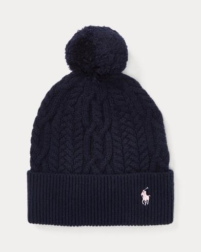 Aran-Knit Pom-Pom Hat