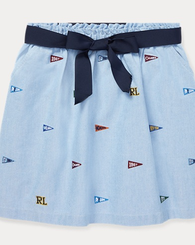 Embroidered Oxford Skirt