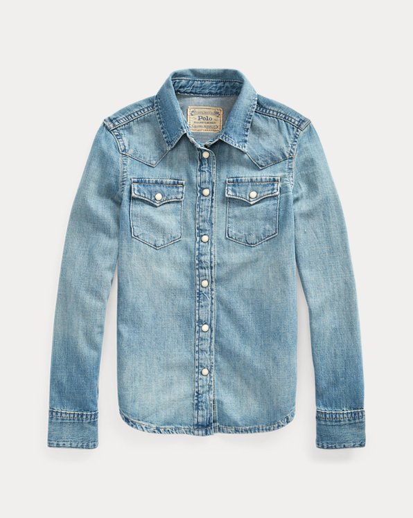 Camicia western in denim di cotone