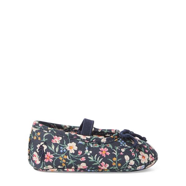 Ralph Lauren Allie Leather Ballet Flat Navy/Multi Floral 0 (0-6 Wks)