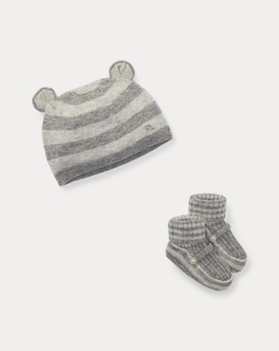 Wool-Cashmere Hat & Bootie Set