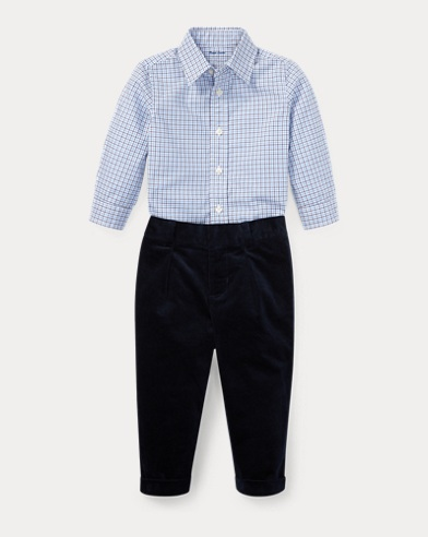 Plaid Poplin Shirt & Pant Set