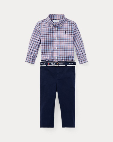 Plaid Shirt & Belted Chino Set