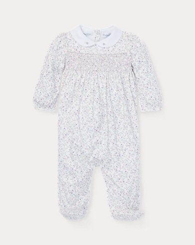 Floral Smocked Cotton Coverall