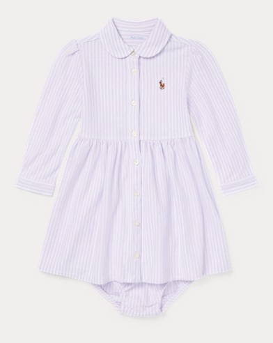Striped Mesh Oxford Dress