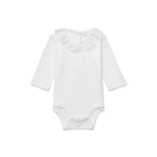 폴로 랄프로렌 베이비 아기옷 우주복  Polo Ralph Lauren Ruffled Cotton Bodysuit,White