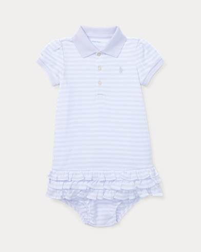 Striped Ruffled Polo Dress