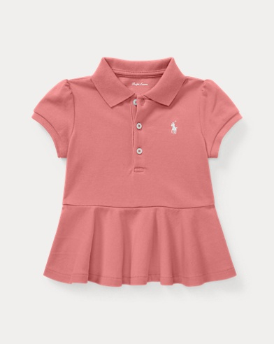 Cotton Pique Peplum Polo Shirt