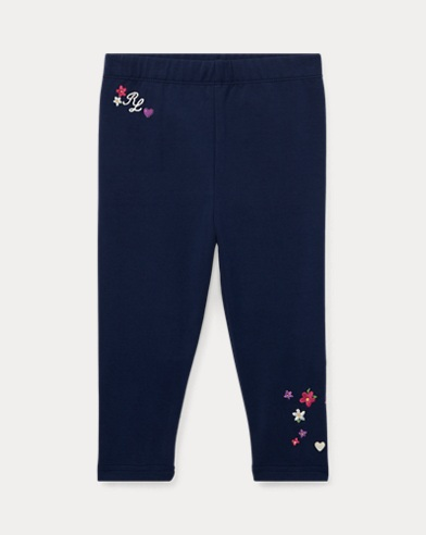 Floral-Embroidered Legging