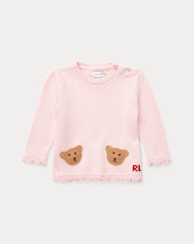 Bear-Pocket Cotton Sweater