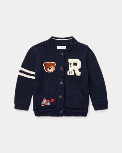 Cardigan coton universitaire ourson
