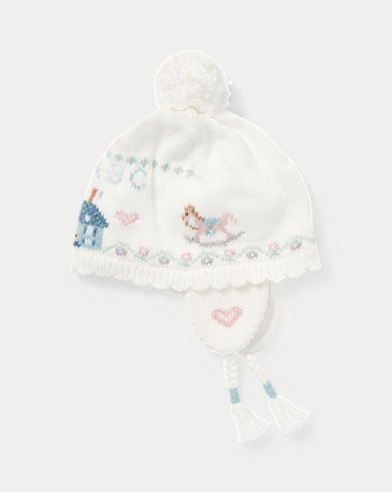 Bonnet coton et laine tricot intarsia