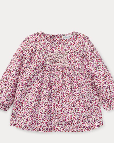 Smocked Floral Cotton Top
