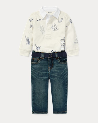 Rugby Shirt & Belted Jean Set