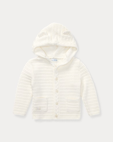 Bear-Hood Cotton Cardigan