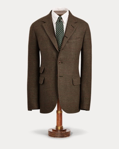 Windowpane Twill Suit Jacket