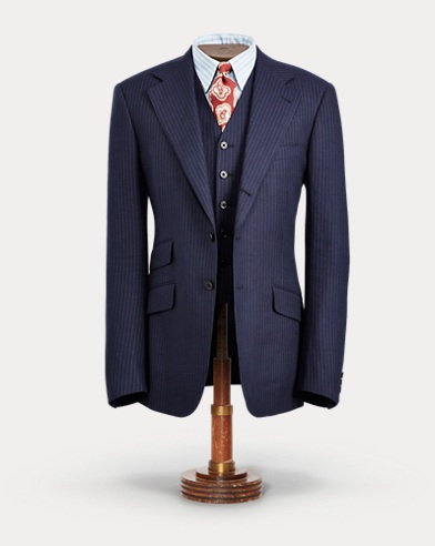 Pinstripe Tweed Suit Jacket
