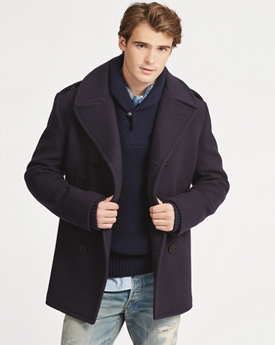 Polo Wool-Blend-Melton Peacoat