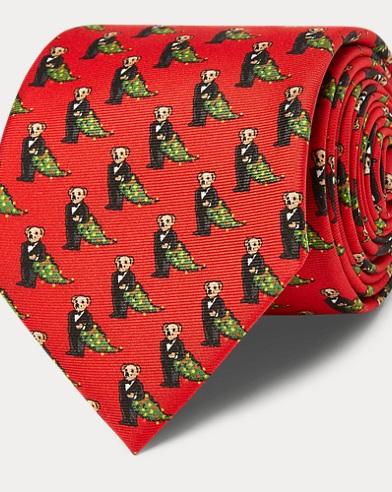 Holiday Bear Silk Narrow Tie