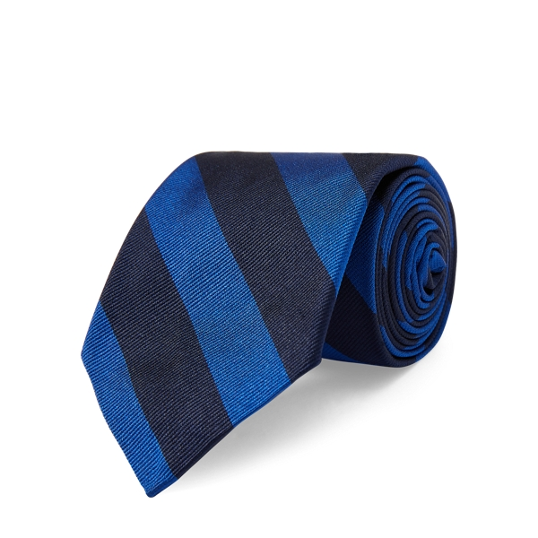 Ralph Lauren Striped Silk Twill Narrow Tie Navy/Royal One Size